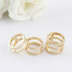 """Geometric, gold tone """"stack"""" rings. $3.31 3PCS of Simple Hollow Alloy Rings For Women"""