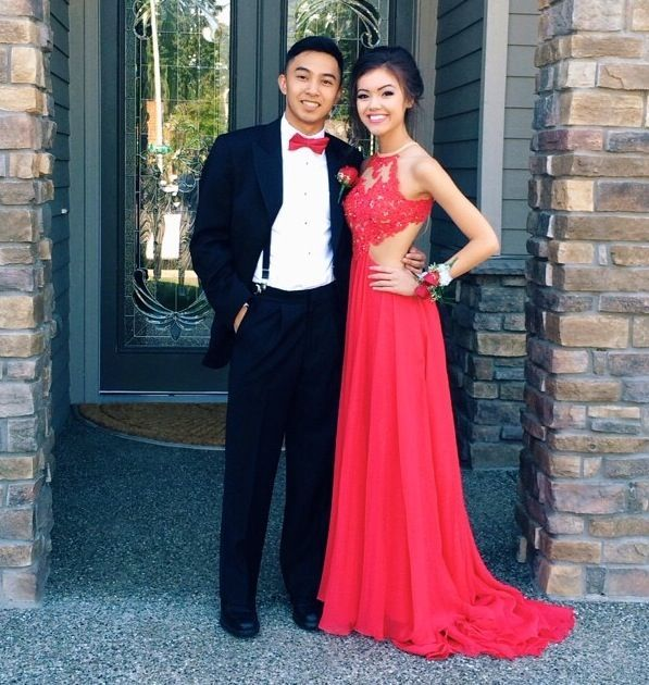 Custom Made A Line Round Neck Red Lace Prom Dresses, Red Lace Formal Dresses, Red Lace Evening Dresses