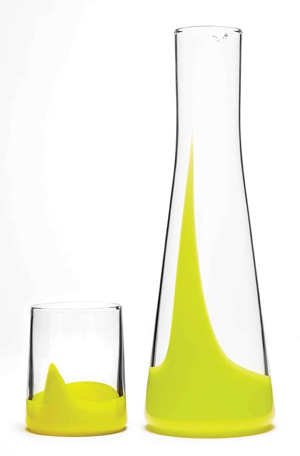 Bib & Sola Marta Intimate Set  Inspired by water, the Marta Intimate Set is handblown to create the distinct colour pattern. Available in eight vibrant colours, it pours pizzazz into any dinner party.  www.bibandsola.com