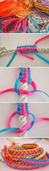 Comment fabriquer bracelet en corde ou faire un bracelet en cordelette de plusieurs couleurs facile à faire soi même, créer ses bijoux créations simples.
