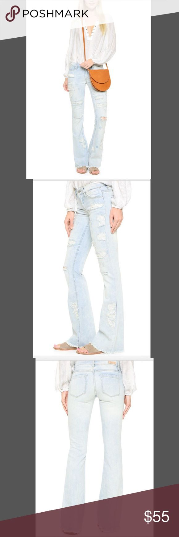 """Blank Denim Flare Jeans NWT.  Blank Denim Karaoke Disaster Flare Jeans. A combination of patched and open holes detail the front.  Raw hem.  5 pocket styling. Button closure and zip fly. Measurements: Rise: 8.75"""" Inseam: 33.5"""" Leg opening: 20.75"""" Size: 28/6. Light wash Blank Denim Jeans Flare & Wide Leg"""