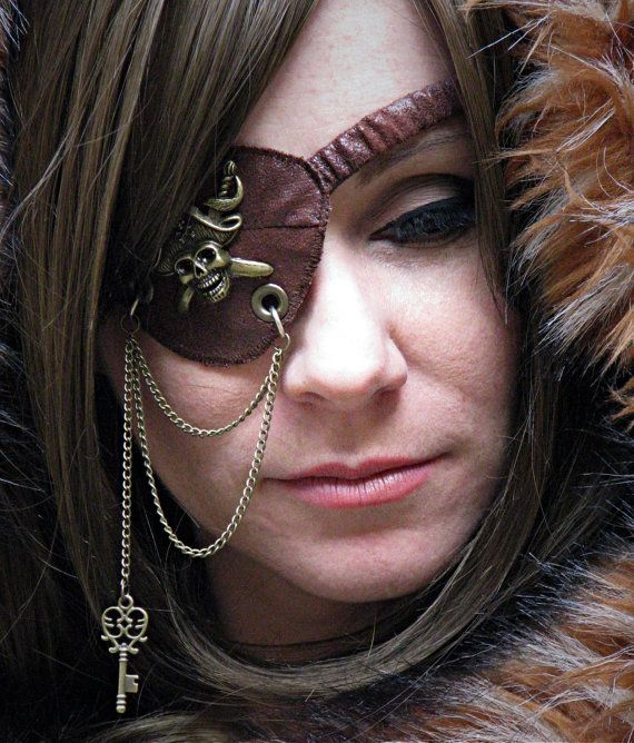 Steampunk+Pirate+Faux+Leather+Embellished+Eye+Patch+by+CurvyWench,+$20.00