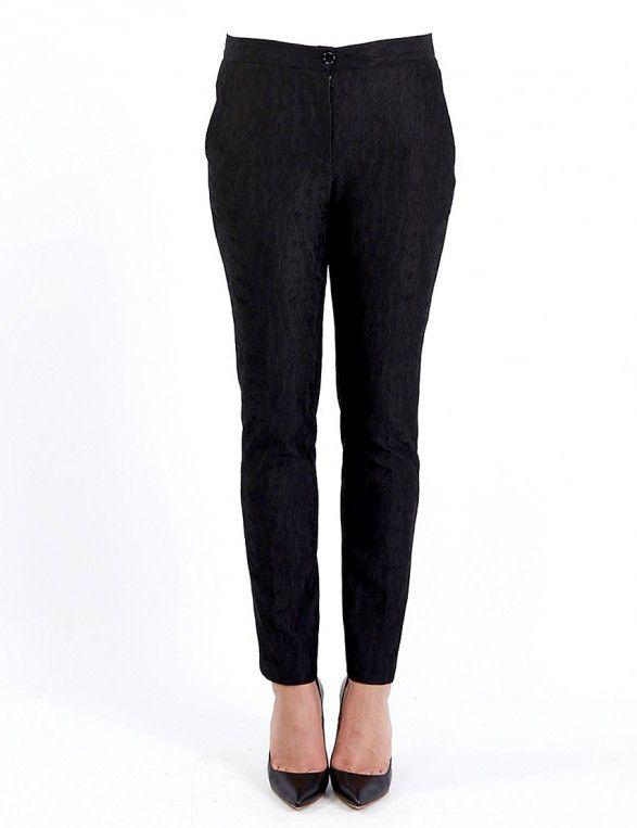 Μαύρο παντελόνι από επενδυμένη δαντέλα - Μαύρο