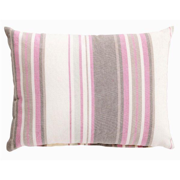 Coussin décoratif rayé blanc gris rose  Déco Rayures  INSPIRATION ...
