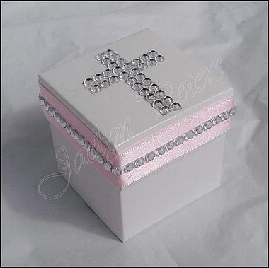 #Girls White Rhinestone Cross Baptism Or #CommunionFavor Box