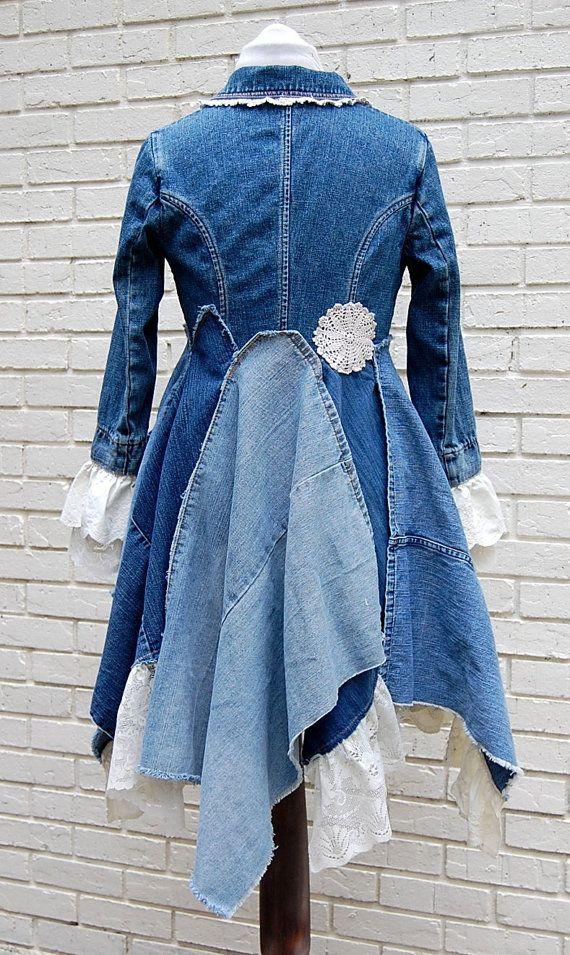 Boho Denim veste manteau dentelle Jean bleue par PrimitiveFringe