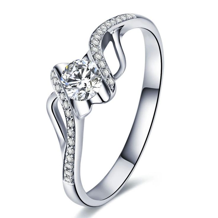 Ladies White Gold Plated AAA Simulated Diamond Ring