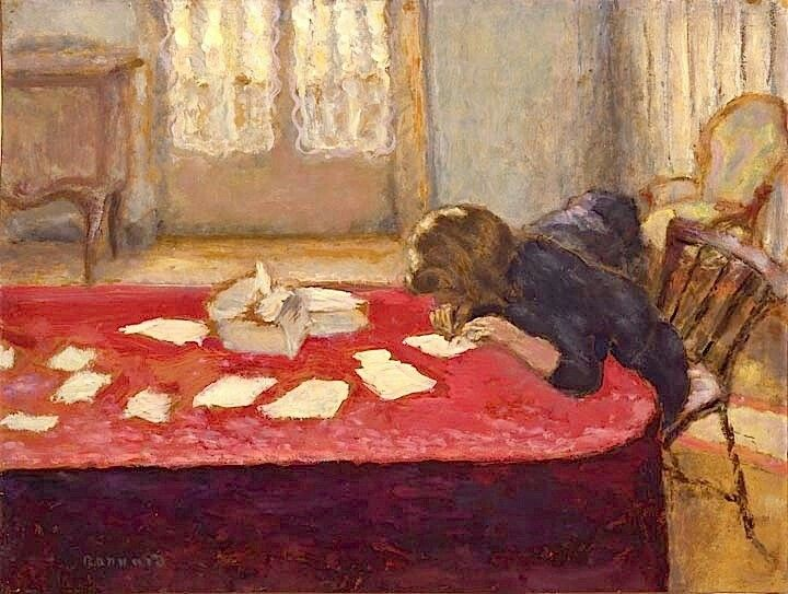 Young Woman Writing -  Pierre Bonnard  Post-impressionism