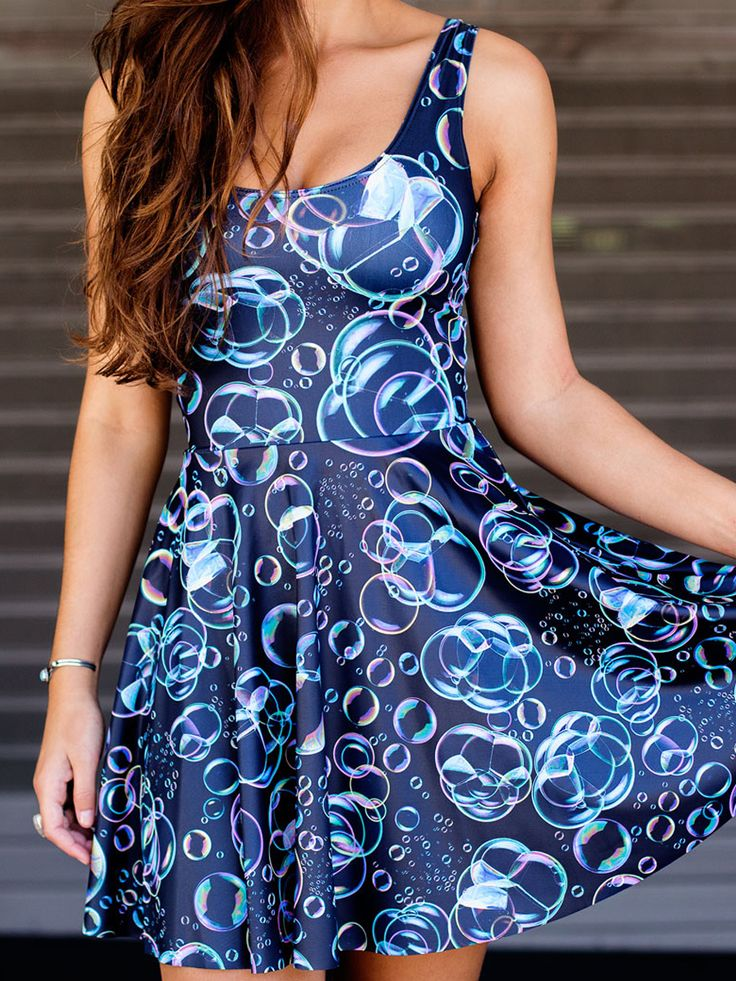 Bubbles Scoop Skater Dress (WW 24HR $85AUD / US - LIMITED $68USD) by Black Milk Clothing