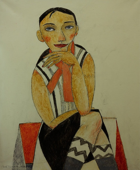 GIRL FROM A CAFÉ print on paper by TwiggyStudio on Etsy, €15.00