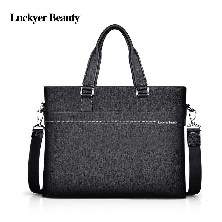 LUCKYER BEAUTY High Quality Leather Man Briefcase Business Men Messenger Shoulder Bags Black Leather Man Office Bag Genuine