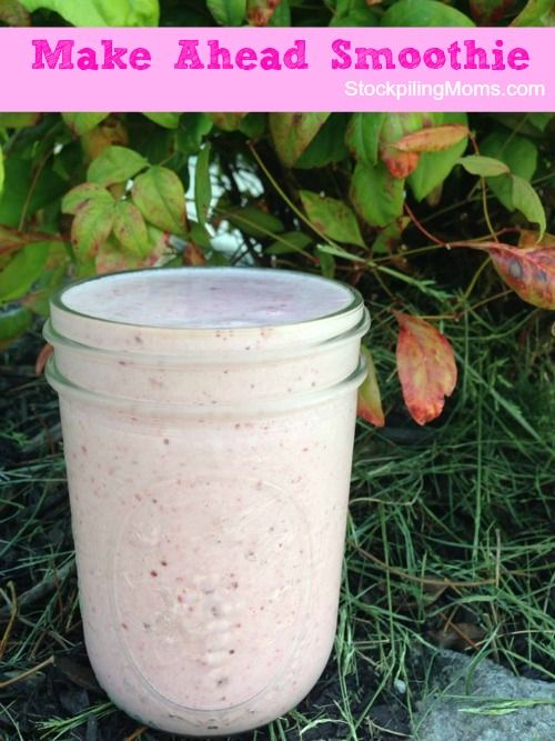 Make-Ahead Smoothie is a great idea for those early mornings!  If you are short on time you can mix it the night before and put it in a travel mug then grab it on your way out of the door in the morning.  It is perfect for breakfast on the go!