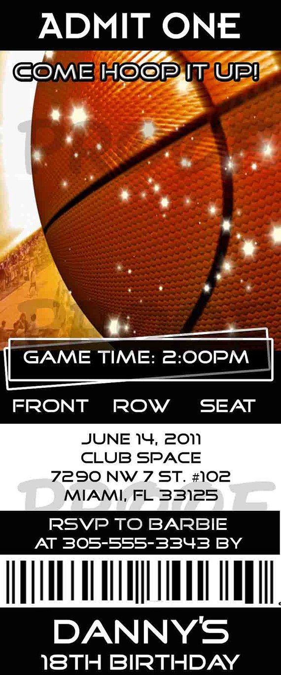 Birthday Basketball Sports Ticket by creationsbyveronica ...