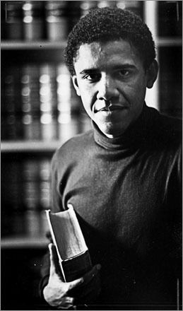 Barack Obama at Harvard Law School in 1990 --- First black person elected to be the President of the Harvard Law School Review.