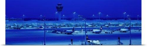 Poster Print Wall Art Print entitled Franz Josef Strauss Airport at night Munich Germany, None