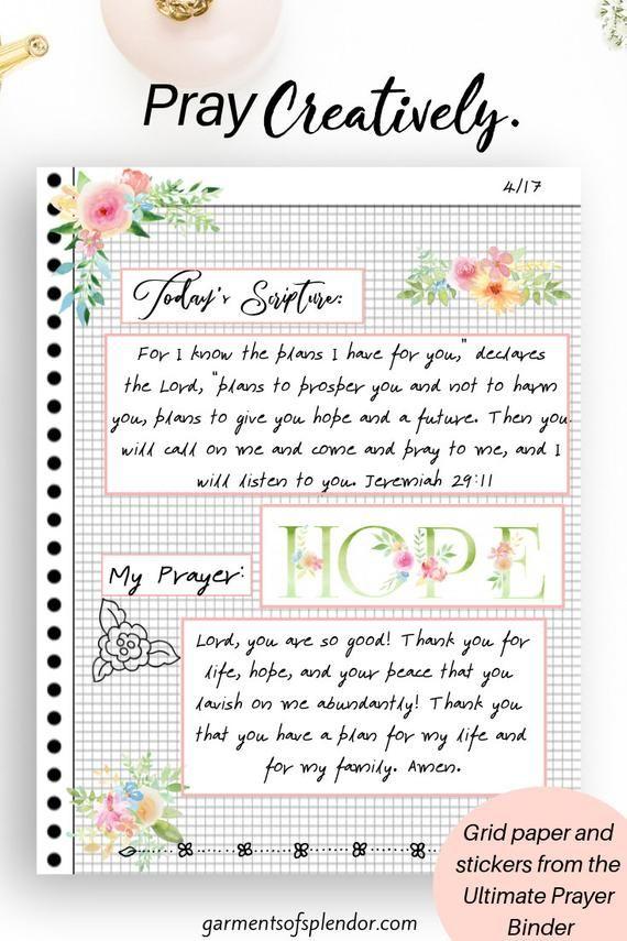 Printable Prayer Journal Faith Planner Bible Study Etsy Printable Prayers Prayer Journal Printable Prayer Journal