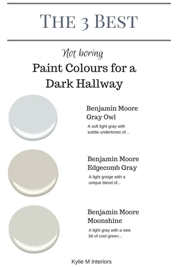 E-design expert Kylie M talks about the 3 best not boring paint colours for a dark hallway or stairwell by Kylie M Interiors. E-decor and Color Consulting #edesign #edecor #benjaminmoore #kylieminteriors
