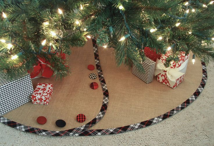 Falda del árbol de Navidad de arpilleraModificado para