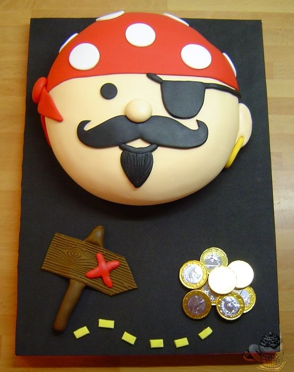 Pirate cake with chocolate coins