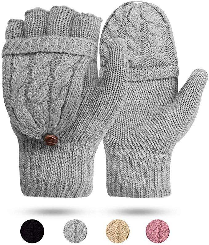 Women's Gloves Fingerless Mittens - Ladies Gloves Winter Warm Knit  Fingerless Gloves Wool Mittens Flap … | Fingerless gloves knitted,  Fingerless mittens, Warm knits