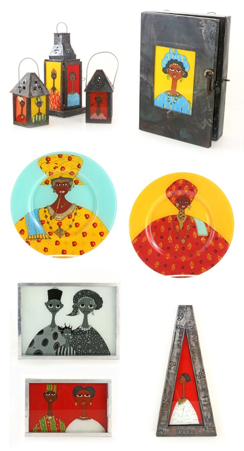 Designs made using the Senegalese fixe technique, available from Swahili Imports