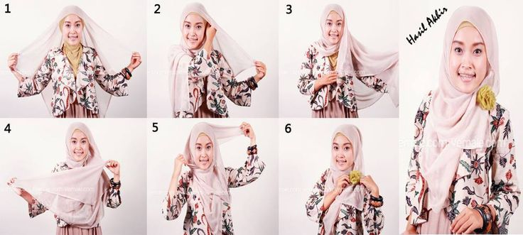 Cara Memakai Jilbab Segi Empat Dengan Korsase Bunga