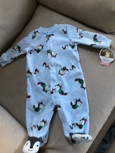30a496ba1 Child of mine made by carters one piece doggie footie pajamas size 0 ...