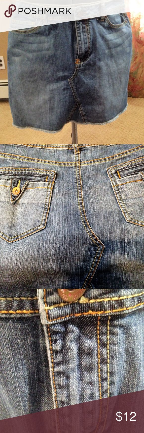 "l.a. blues Lightweight Stretch Denim Skirt Lightweight stretch denim jeans skirt made from jeans. Two detailed back pockets, raw hemline. Measurements- Waist 33"", Length 16"". l.a. blues Skirts Mini"