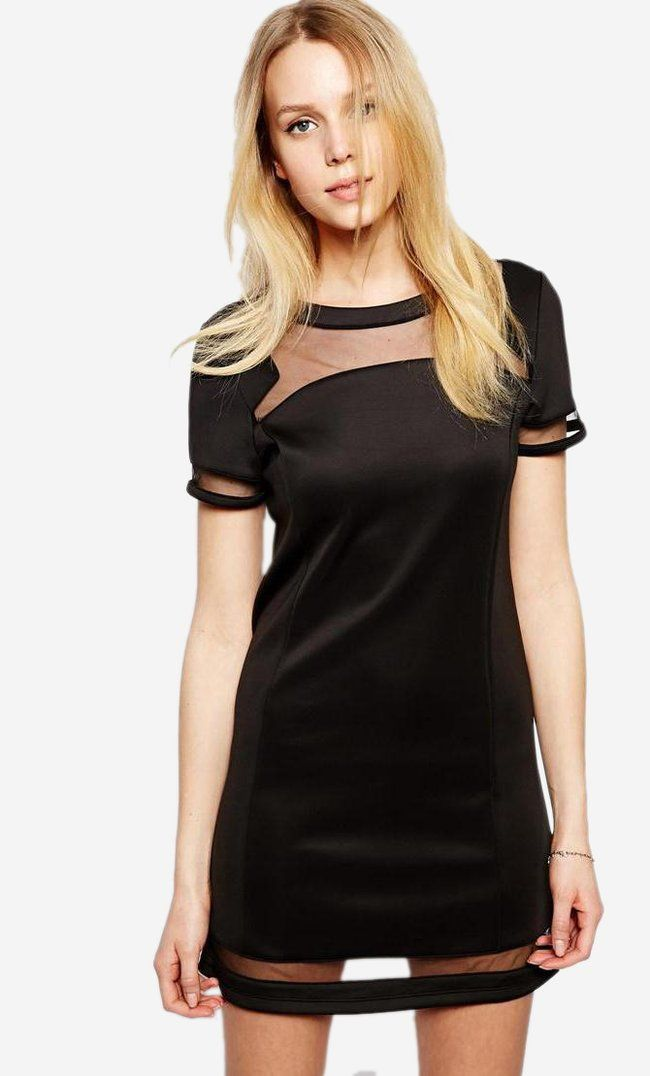 Made from a scuba-style fabric. Boat neckline. Sheer chiffon inserts. Zip back fastening. Regular fit...