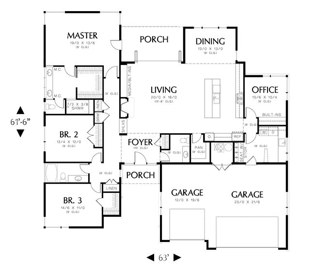 2334 sq ft in love with this floor plan the big garage for House plans with separate office entrance