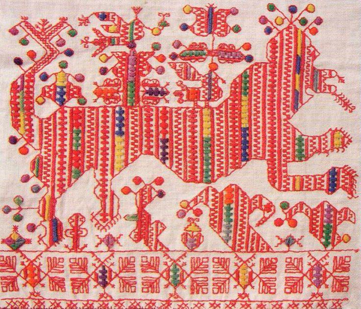 конец полотенца 19 век набор роспись косой шов гладь