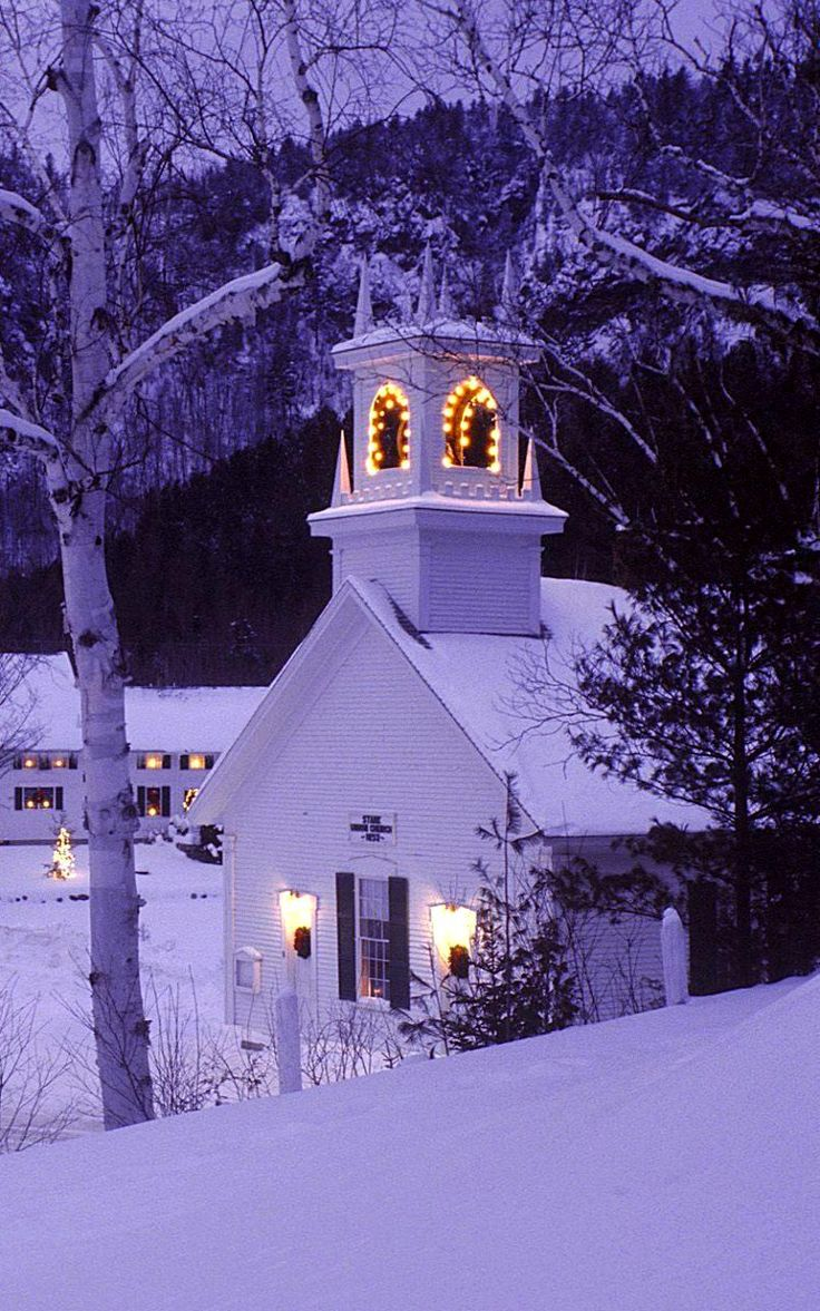 Christmas.. country church lit with steeple lights as the purple dusk reflects on the snowy landscape. Stark Town, New Hampshire, United States. DdO:) > http://www.pinterest.com/DianaDeeOsborne/CHRISTmas-keys - Pin via Liz Saltzman