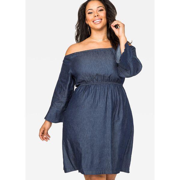 Ashley Stewart Off Shoulder Denim Dress ($60) ❤ liked on Polyvore featuring dresses, blue dress, bell sleeve dress, plus size blue dress, ashley stewart dresses and blue off shoulder dress