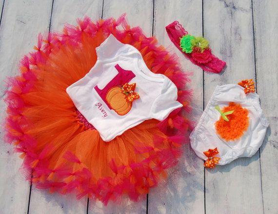 Pumpkin tutu-Baby Pumpkin BirthdayBaby First by SewsnBows on Etsy