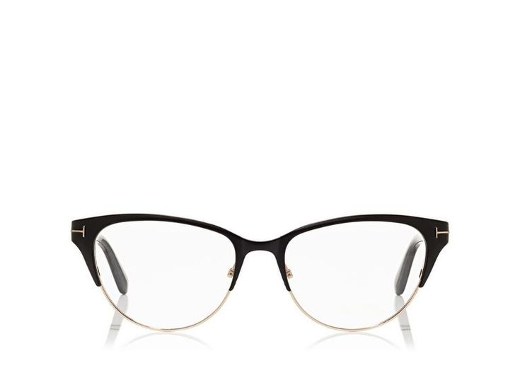 Cat-eye style with metal front and acetate temples enriched by the metal 'T' decoration.