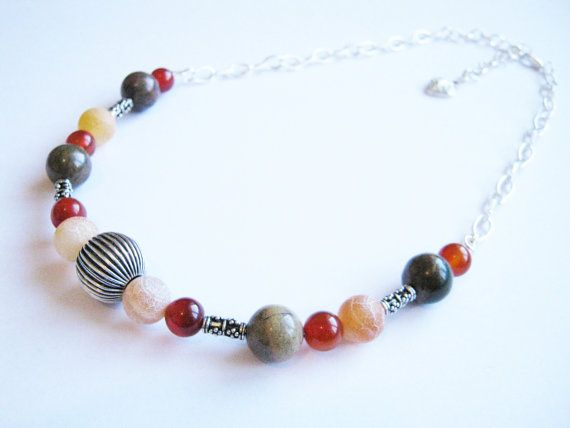 Carnelian and Bali Silver Necklace Orange Beaded Gemstone