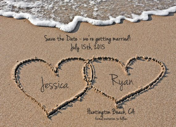 Beach Save the Date Destination Wedding Hearts by WallflowerEvents