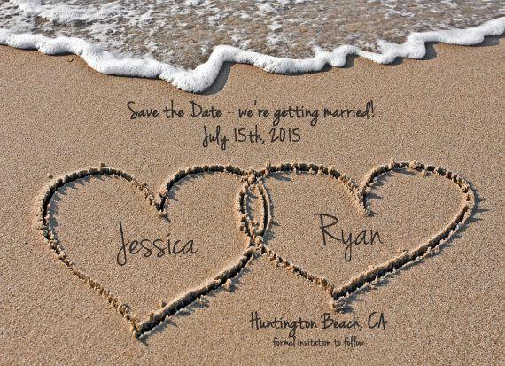 Plage sauf la Date, les mariage à Destination, les coeurs dans le sable, fichier numérique, imprimable, 5 x 7