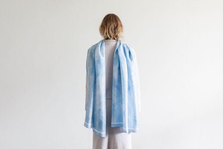Studio Cosima x Studio Haze Mineral silk scarf collection Lapis scarf 65 x 200 cm