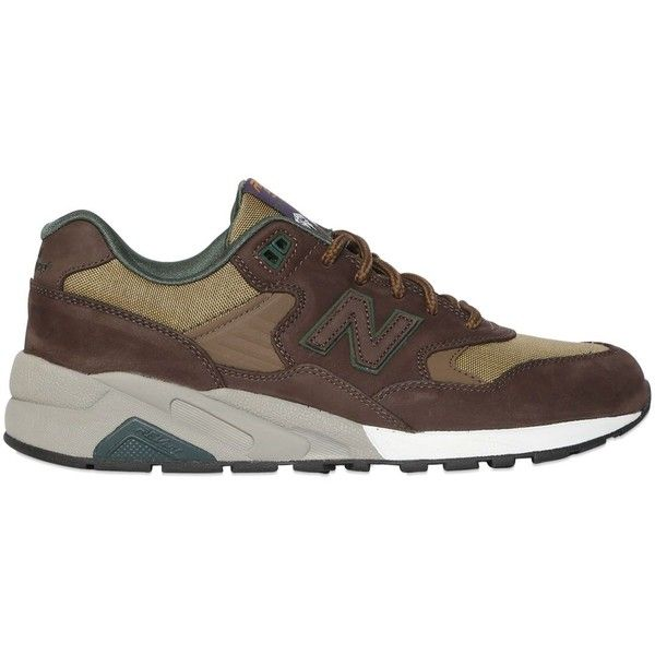 New Balance Men 580 Revlite Nubuck & Canvas Sneakers ($170) ❤ liked on Polyvore featuring men's fashion, men's shoes, men's sneakers, brown, mens brown shoes, new balance mens shoes, mens nubuck shoes, mens shoes and mens sneakers