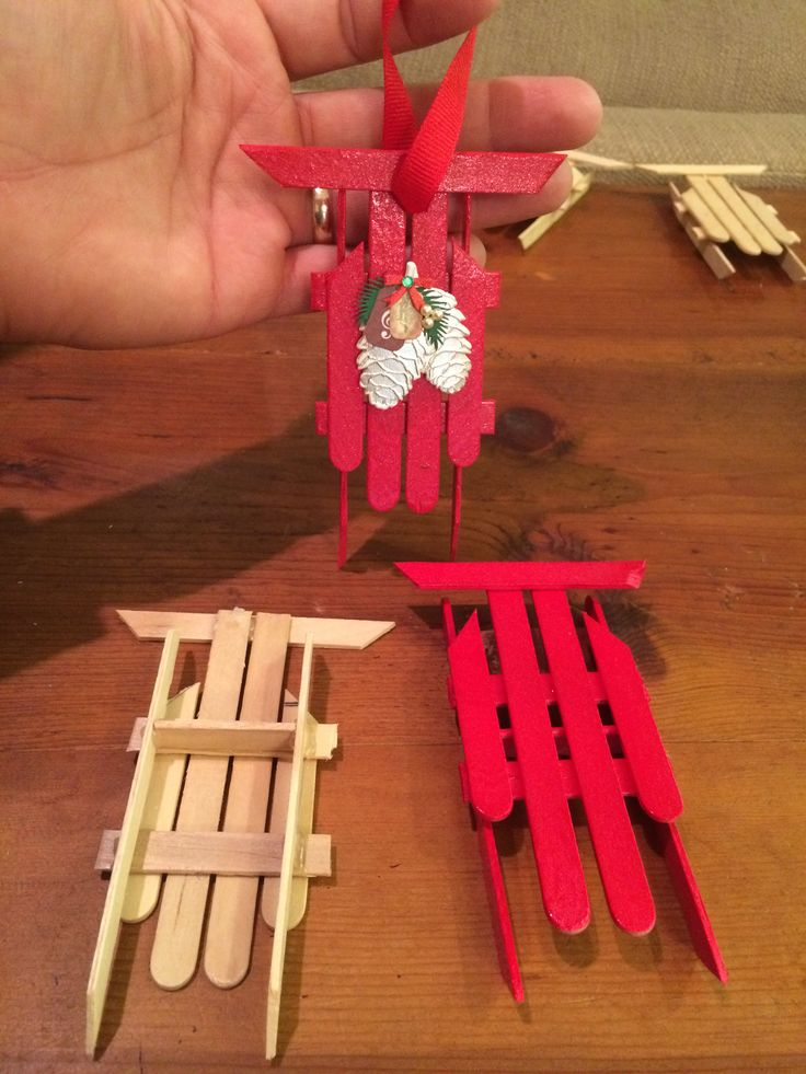 Popsicle stick sleds! Great ornament gift idea.