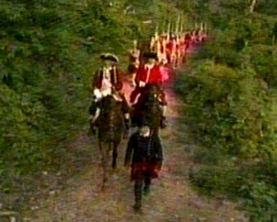 Seven Years War: the Braddock Road, barely wide enough for three soldiers to march....