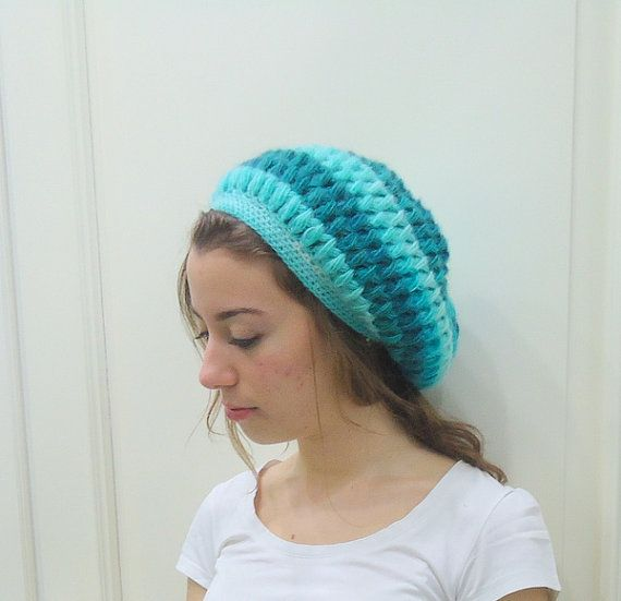 Hand Crocheted BLUE HAT Slouchy BEANIEShades of by MARYsworks
