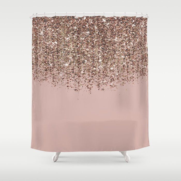 Buy Blush Pink Rose Gold Bronze Cascading Glitter Shower Curtain