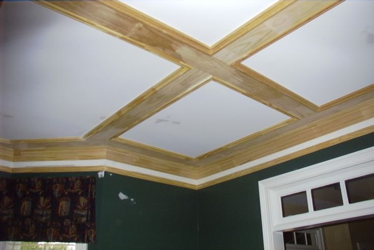 great coffered ceiling out of simple 1x6 boards and basic. Black Bedroom Furniture Sets. Home Design Ideas