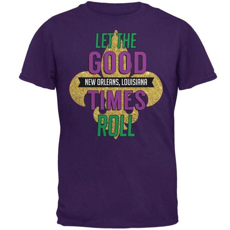 Mardi Gras Let the Good Times Roll Purple Adult T-Shirt