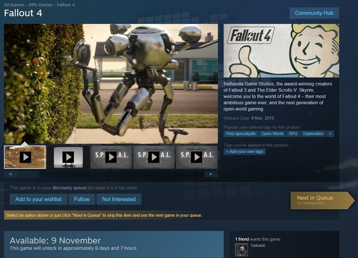 Steam showing Fallout 4 release date to be Nov 9th. Check out the image above. Not sure if it is a pre-load or will it allow players to play the game on Nov 9th. Source: NeoGaf What are your thoughts on this news? Are you excited it is coming out 1 day early or do you think it is a mistake on Steam's part?