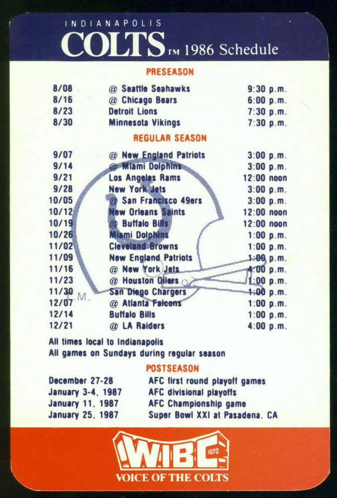 1986 INDIANAPOLIS COLTS FARMERS INSURANCE GROUP FOOTBALL POCKET SCHEDULE #SCHEDULE