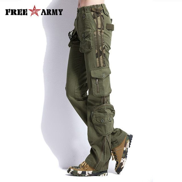 Large Size Cargo Pants Women Military Clothing Tactical Pants Multi-Pocket Cotton Joggers Sweatpants Army Green TO7305-2