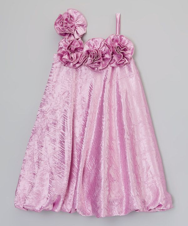 Look at this Little Miss Fashion Purple Asymmetrical Flower Bubble Dress - Infant, Toddler & Girls on #zulily today!
